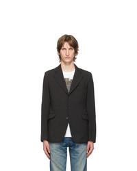 Junya Watanabe Black Gabardine Gart Dyed Blazer