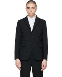 Comme des Garcons Homme Deux Black Gart Dyed Diagonal Panel Blazer