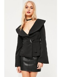 Missguided Black Open Neck Side Tie Detail Crepe Blazer