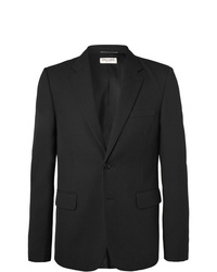 Saint Laurent Black Slim Fit Virgin Wool Jacquard Suit Jacket
