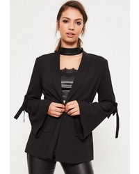 Missguided Black Tie Arm Detail Tailored Blazer