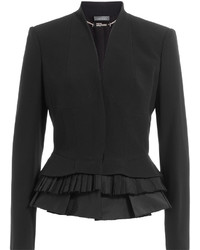 Alexander McQueen Blazer With Pleated Peplum Hem