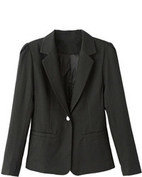 Choies Black Lapel Single Button Slim Blazer