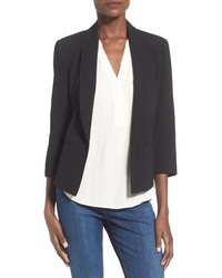 Mural Curve Open Front Shawl Collar Blazer