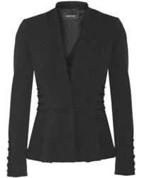 Cushnie et Ochs Lace Up Stretch Twill Peplum Blazer Black