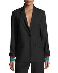 Tibi Dempsey Two Button Suiting Blazer Black
