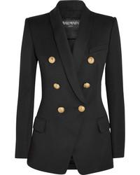 Balmain Double Breasted Wool Blazer Black
