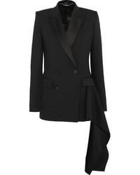 Alexander McQueen Draped Satin Trimmed Wool Crepe Blazer Black