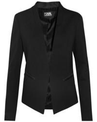 Karl Lagerfeld Ikonik Punto Satin Trimmed Crepe Blazer Black