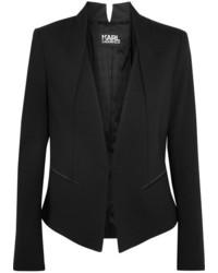 Karl Lagerfeld Ikonik Punto Satin Trimmed Jersey Blazer Black
