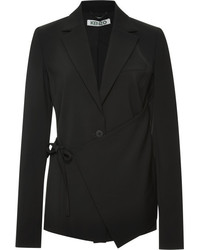 Kenzo Tie Front Crepe Blazer Black