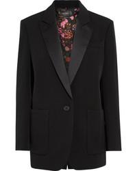 Isabel Marant Laya Oversized Satin Trimmed Wool Twill Blazer Black