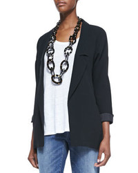 Eileen Fisher Long Silk Boyfriend Jacket