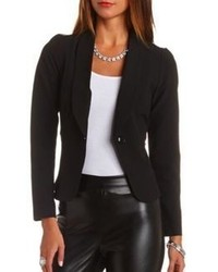 Charlotte Russe Mesh Cut Out Single Button Blazer