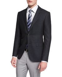 Ermenegildo Zegna Milano Solid Twill Two Button Jacket Black