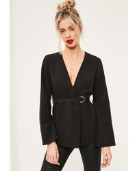 Missguided Black Belted Bell Sleeve Blazer