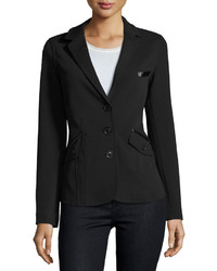 Raison D'etre Lady Faux Leather Trim Blazer Black