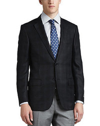 Ermenegildo Zegna Regildo Zegn Plaid Two Button Sport Coat Blackblue