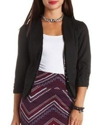 Charlotte Russe Sequin Trimmed Open Front Cropped Blazer