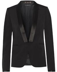 Gucci Silk Satin Trimmed Wool Blend Blazer