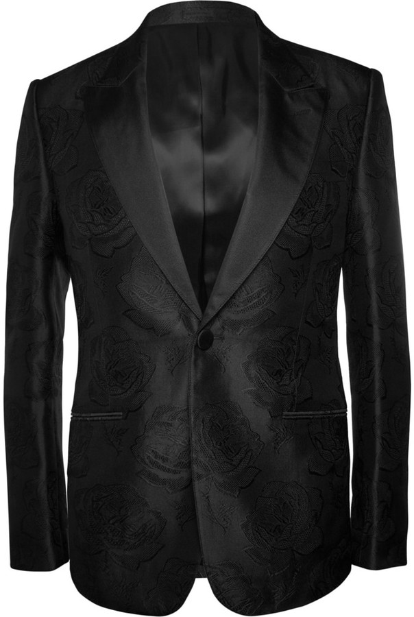Alexander McQueen Slim Fit Rose Patterned Silk Blazer | Where to ...