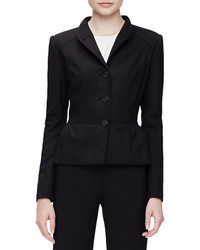Carolina Herrera Stand Collar Peplum Jacket Black