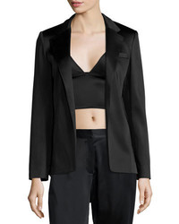 Alexander Wang T By Satin Open Front Blazer Black