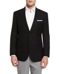Brioni Twill Two Button Blazer Black