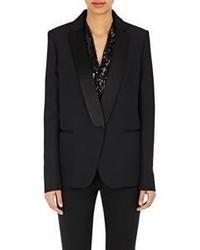 Victoria Beckham Satin Lapel Tuxedo Jacket Black