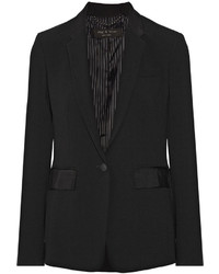 Rag & Bone Windsor Grosgrain Trimmed Crepe Blazer Black