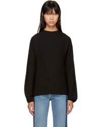 Helmut Lang Black Low Tied Back Blouse