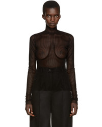 MM6 MAISON MARGIELA Black Velvet Mesh Top