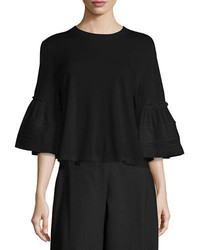 See by Chloe Crewneck Bell Sleeve Cotton Top