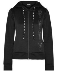 Fendi Karlito Appliqud Embroidered Tech Jersey Hooded Top Black