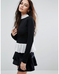 Boohoo Long Sleeve Frill Trim Top