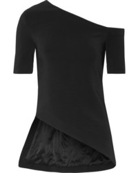 Rosetta Getty One Shoulder Stretch Cady Top Black