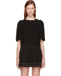 See by Chloe See By Chlo Black Textured Cropped Blouse