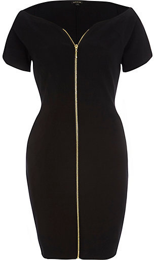River Island Black Zip Front Bodycon Dress   Where to buy & how to wear