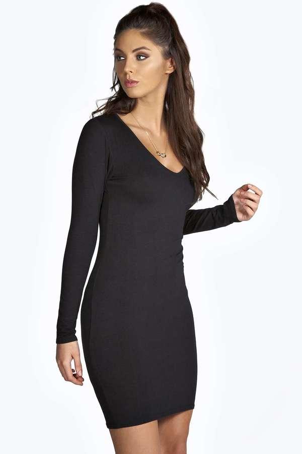 Turmec Black Bodycon Long Sleeve Dress