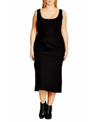 City Chic Plus Size Side Weave Body Con Tunic Dress