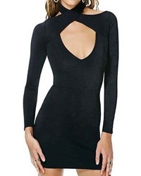 Romwe Crossed Bandage Neck Black Bodycon Dress