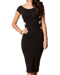 Romwe Crossed Hollow Bodycon Black Dress