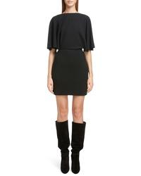 Saint Laurent Drape Sleeve Body Con Minidress