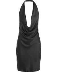 Stella McCartney Draped Silk Satin Halterneck Dress
