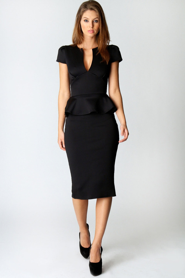 Boohoo Emily Slit Neck Cap Sleeve Peplum Midi Dress 37 Boohoo