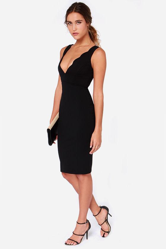 Lulus Lulus Work Of Heart Midi Black Bodycon Dress 48 Lulus