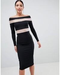 ASOS DESIGN Mesh Insert Bardot Bodycon Midi Dress