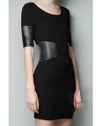Romwe Panel Faux Leather Black Bodycon Dress