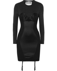 Moschino Paneled Ribbed Wool Satin And Crepe Mini Dress
