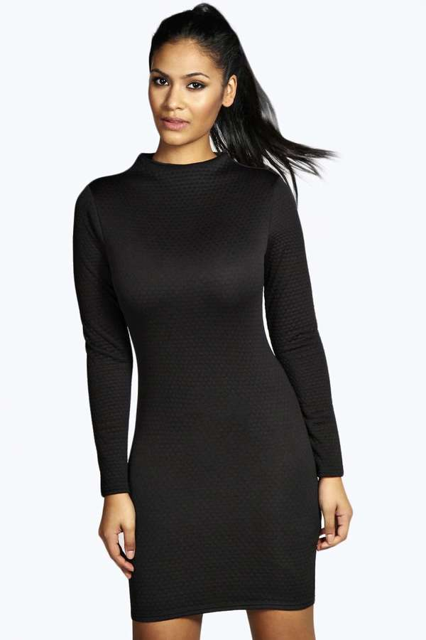250c0efc8b ... Black Bodycon Dresses Boohoo Phoebe High Neck Long Sleeve Bodycon Dress  ...